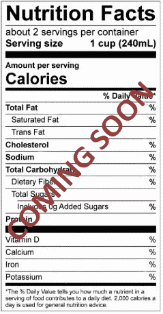 Nutrition facts coming soon