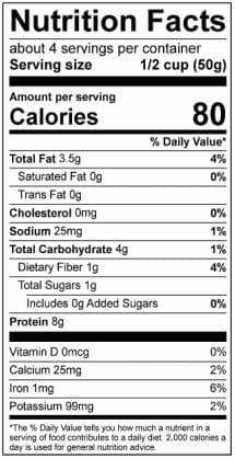 Marisol's Homemade Taco Nutrition Label